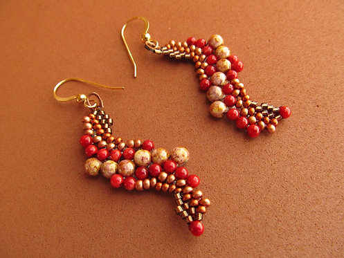Handmade earrings hand beaded s-shaped earthy colors and red bamboo coral