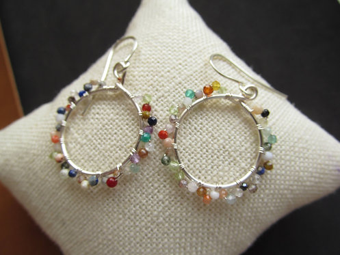 Handmade mixed natural gemstone tiny silver hoop earrings