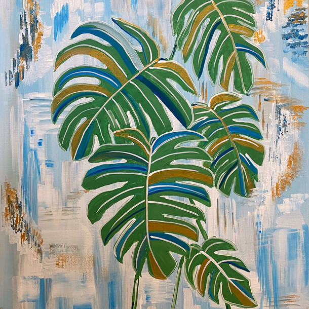 Monstera on Teal