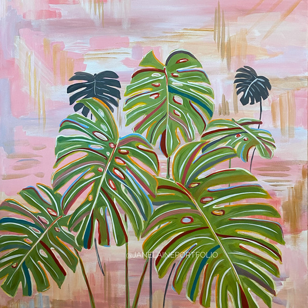 Monstera on Pink
