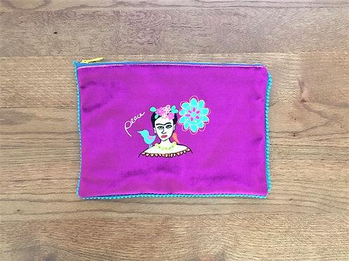 Frida with Bird Velvet Pouch