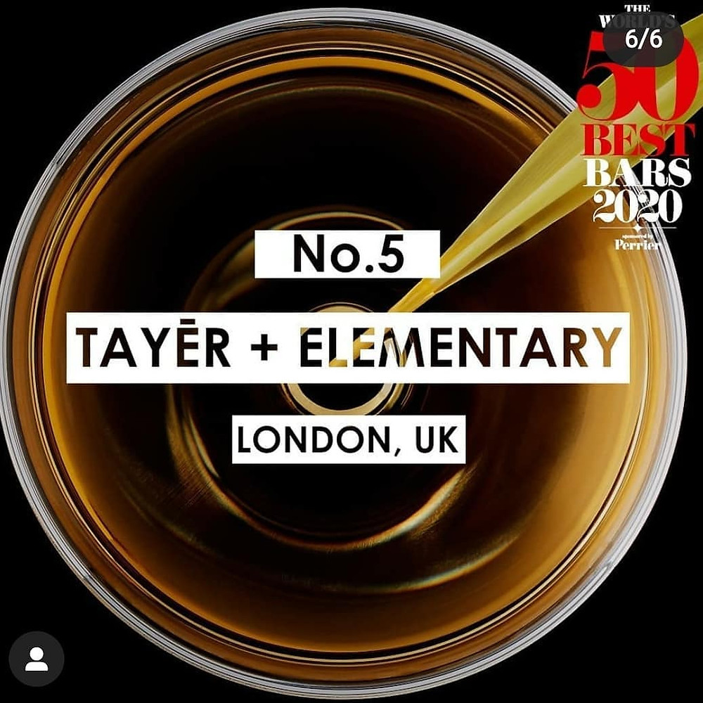Tayer + Elementary - Voted No 5 in 50 Best Bars 2020
