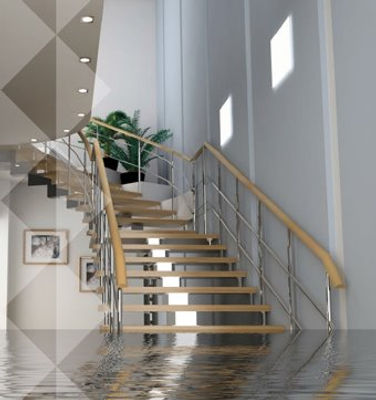 Überschwemmung im Treppenhaus
