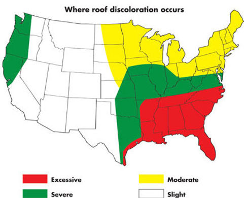 Roof Discoloration in South Carolina