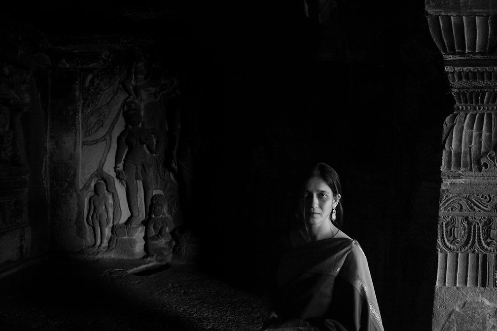 portrait of a woman in UNESCO world heritage caves of ellora in incredible india photography by nevil zaveri