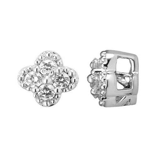 Dije en oro blanco flor de 14k con diamantes