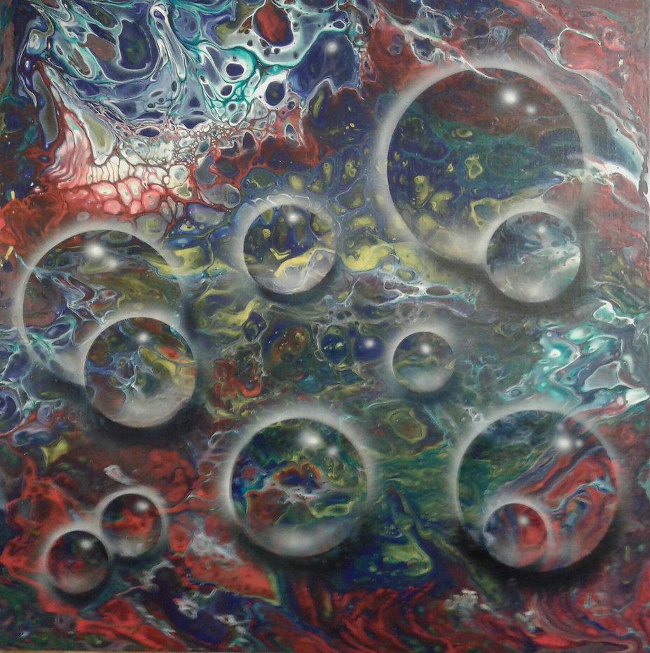Glaskugerl in fluid-acrylic-technic 40x40cm auf Malplatte