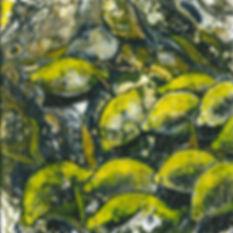 Zitronen in fluid-acrylic-technic 20x20cm auf Malplatte