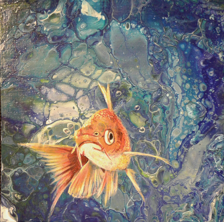 Goldfisch in fluid-acrylic-technic 25x25cm auf Malplatte