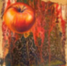 Fliegender Apfel in fluid-acrylic-technic 50x50cm auf Leinwand