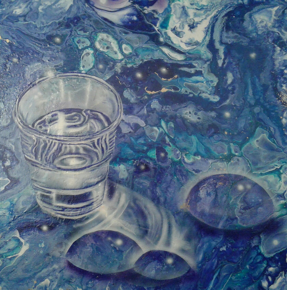 Glas in fluid-acrylic-technic 30x30cm auf Leinwand