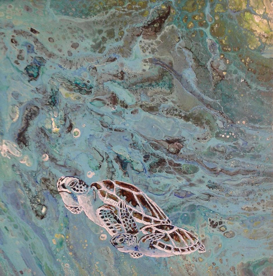 Meeresschildkröten in fluid-acrylic-technic 30x30cm auf Malplatte