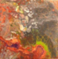 Stein in fluid-acrylic-technic 30x30cm auf Leinwand