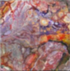 Stein in fluid-acrylic-technic 20x20cm auf Malplatte