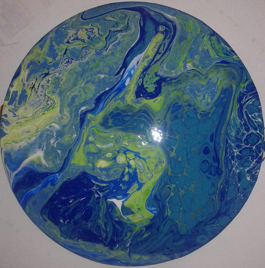 Satelitenbild? in fluid-acrylic-technic 30cm Leinwand