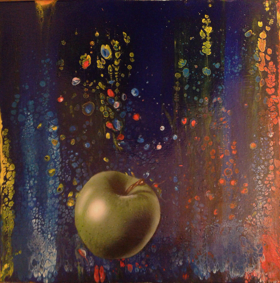 Grüner Apfel in fluid-acrylic-technic 50x50cm auf Leinwand