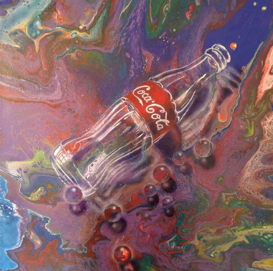 Colaflasche in fluid-acrylic-technic 60x60cm auf Leinwand
