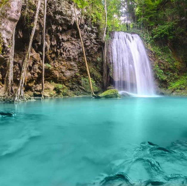 Experience real jungle at the Erawan waterfalls