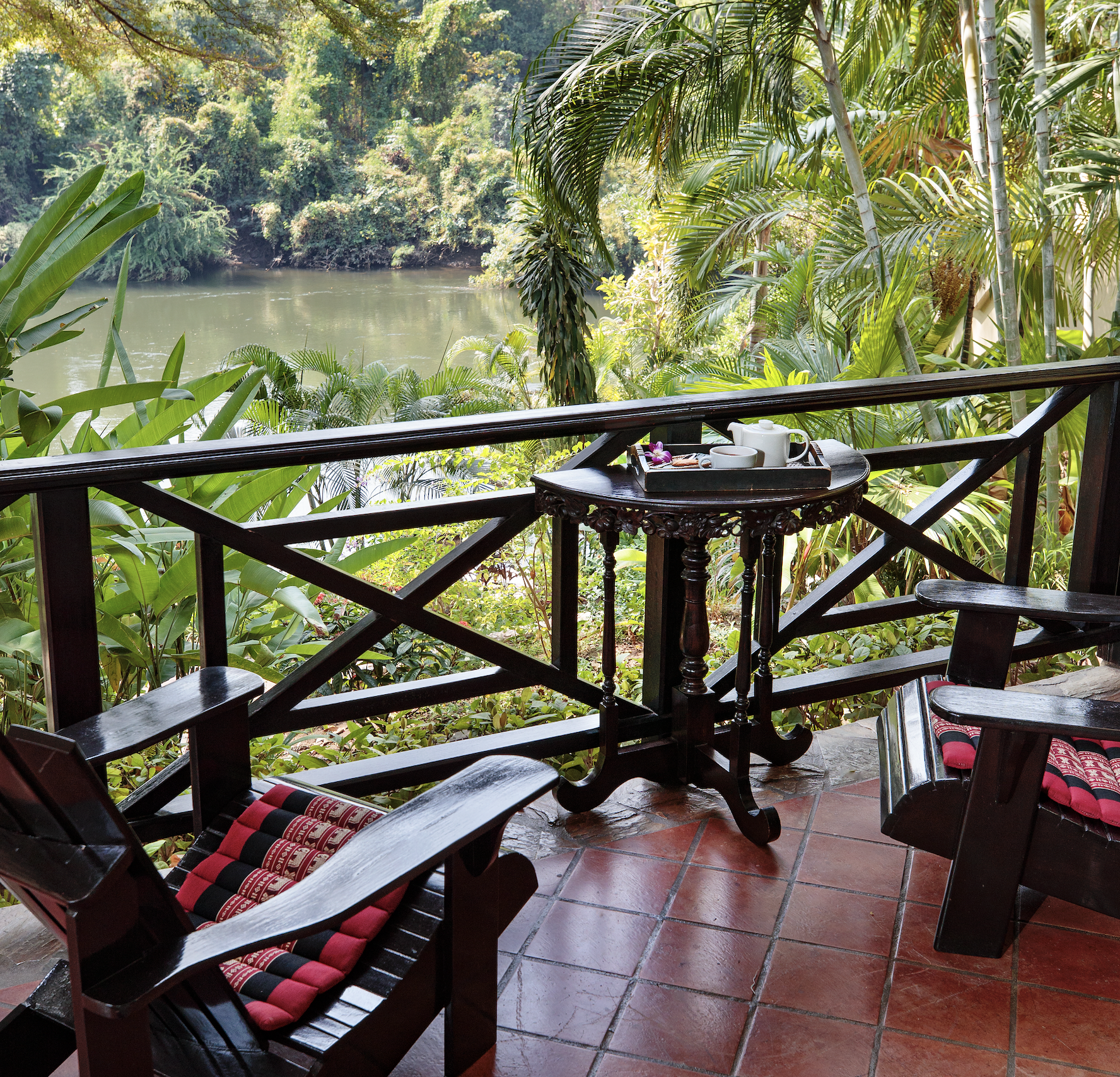veranda overlooking the river