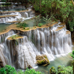 Relax at the off the beaten track waterfalls 'Huay Mae Kamin'....