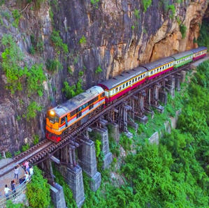 Take the local train passing the impressive Wang po viaduct...