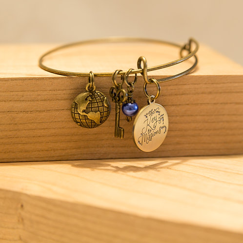 World Key and Charm Bracelet