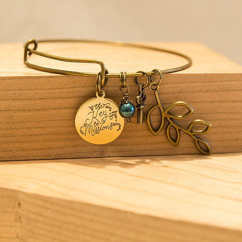 Leaf Key and Charm Bracelet