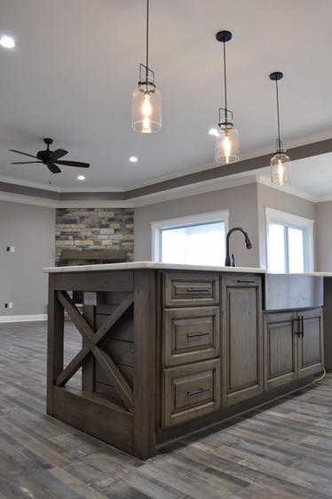crossbuck large kitchen island granite countertops