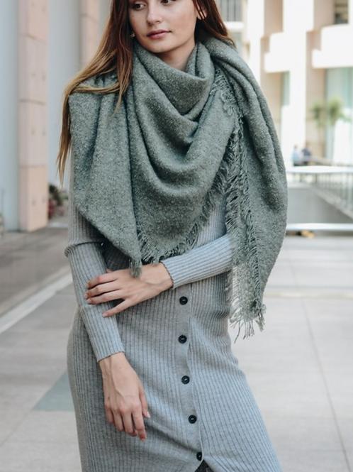Warm Open Weave Sage Blanket Scarf