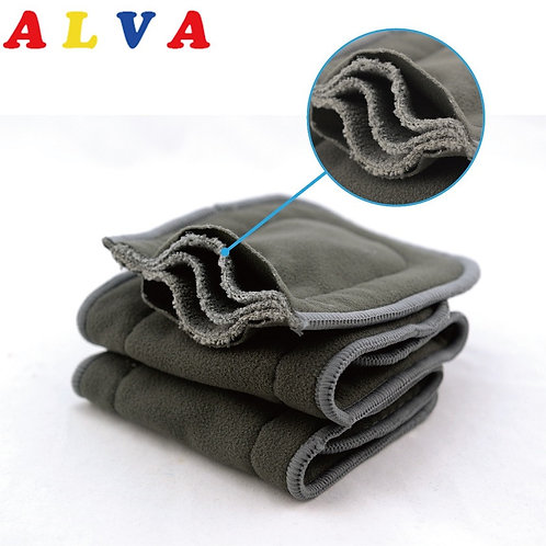 10pcs Alva Baby High Absorbent Organic 5 Layers Charcoal Bamboo Inserts