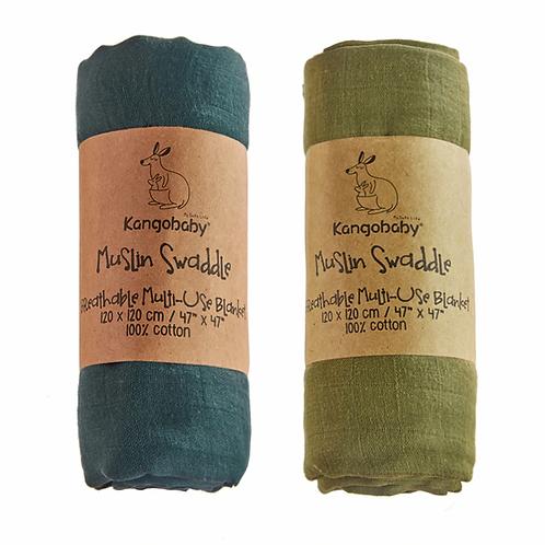 Kangobaby 2pc Pack Old Time Muslin Organic Bamboo Baby Swaddles