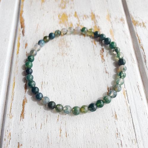 Harmony: 4mm Moss Agate Bracelet