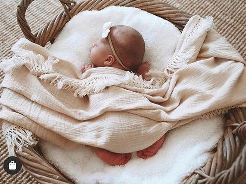 Baby Blanket Muslin  Solid Tassel Swaddle + Headband