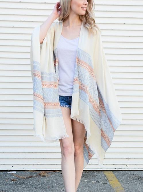 Camel & Ivory Woven Moroccan Frayed Edge Kimono Scarf