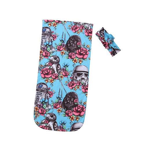 Newborn Infant Star Wars Soft Cotton Muslin Wrap & Headband