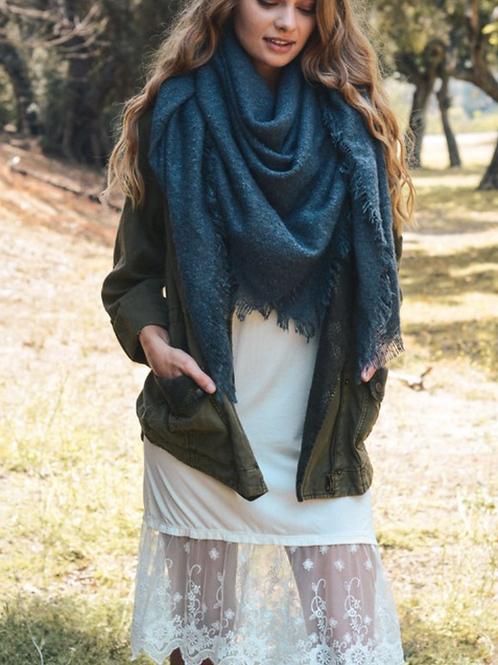 Warm Open Weave Navy Blue Blanket Scarf