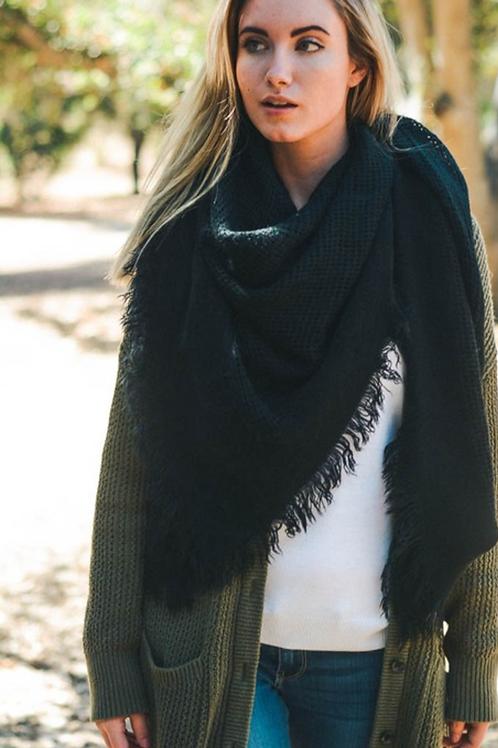 Warm Black Open Weave Square Scarf / Blanket