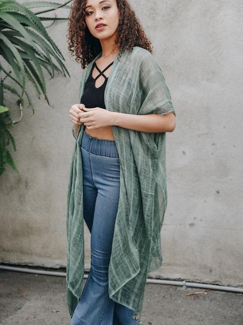 Lila - Sage Boho Vertical Striped Kimono