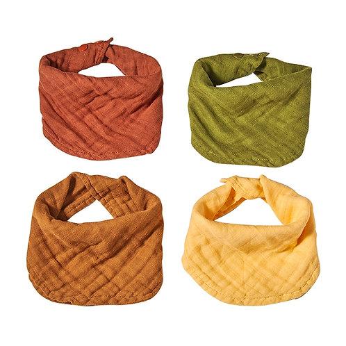 Kangobaby 4 Pcs Pack Muslin Infinity Scarf Bib 100% Cotton
