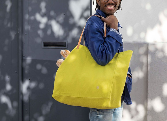 Sac shopping coton jaune bergamote