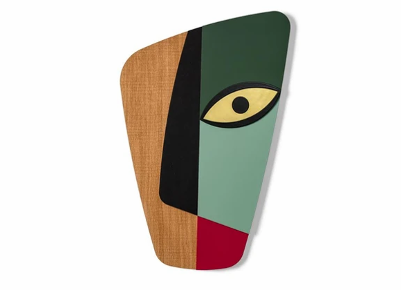 Masque africain revisité abstrait vert