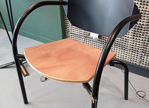 Fauteuil en acier et bois interieur et exterieur
