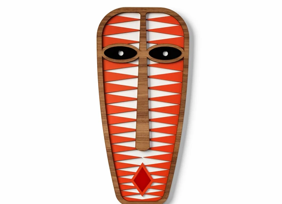 Masque africain moderne rouge