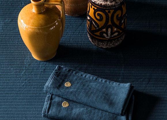 Set x2 serviettes de table Lin et Coton. Bleu