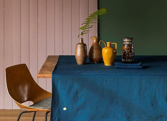 Nappe bleu 160x250 cm. Lin et coton