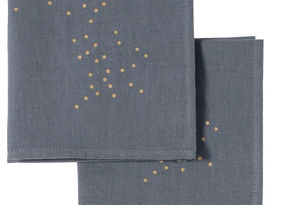 Set x2 serviettes de table Lin et Coton. Gris pluie or