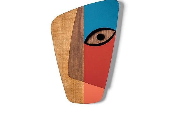 Masque africain revisité abstrait bois