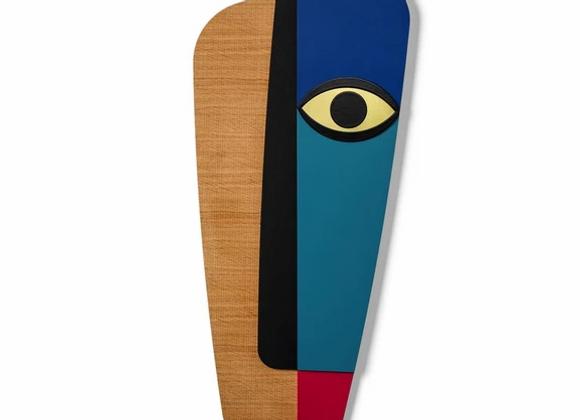 Masque africain revisité abstrait bleu