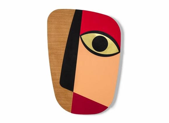 Masque africain revisité abstrait rouge