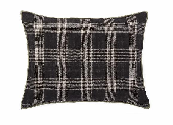 Petit coussin en lin noir à carreaux 30x40